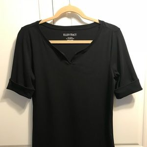 Ellen Tracy Black Top Small Stretchy NWOT